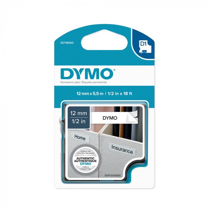 Aparat de etichetat (imprimanta etichete) DYMO LabelManager 160P, QWERTY S0946320 si 1 banda industriala poliester D1, 12mm x 5.5m, negru/alb,16959-big