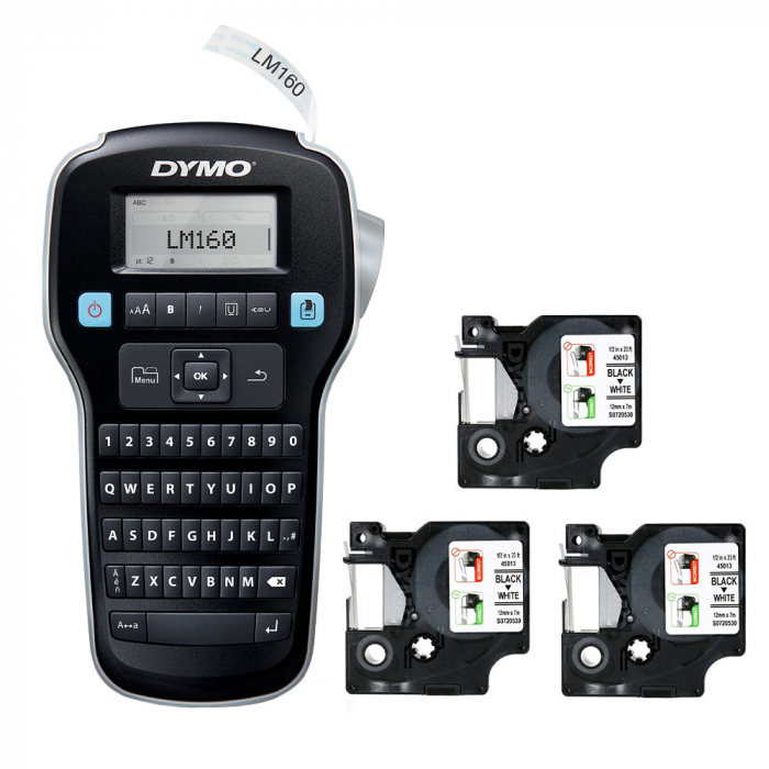 Dymo Labelmanager 160P starter kit, setul include 3 benzi D1 12mm x 7m, negru/alb originale 45013-big