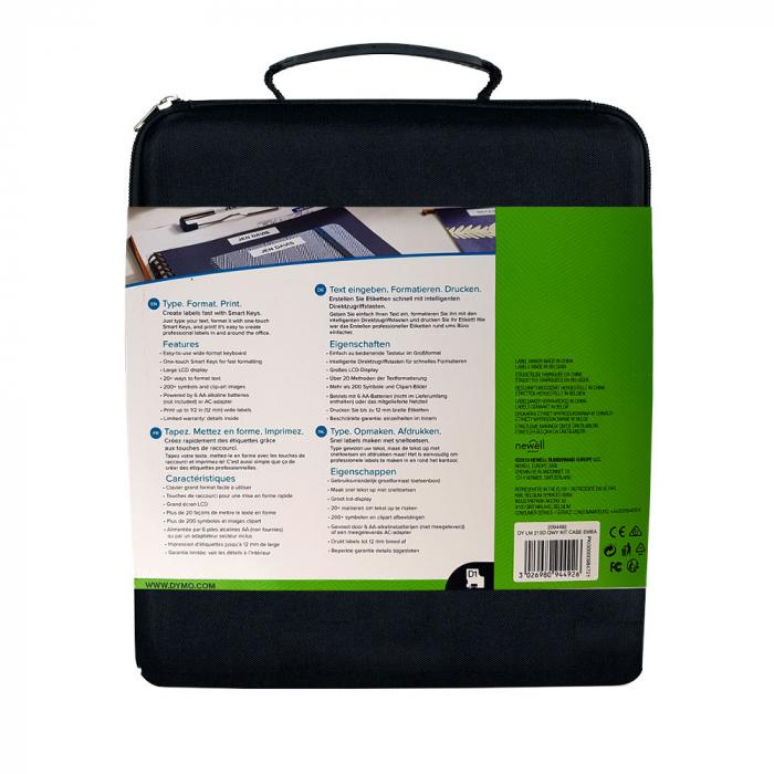 Aparat de etichetat (imprimanta etichete) DYMO LabelManager 210D Kit, QWERTY, include 2 adaptoarea la 230V si 1 caseta Dymo Labelmanager poliester 12mm x 5.5m, 2094492, 16959-big