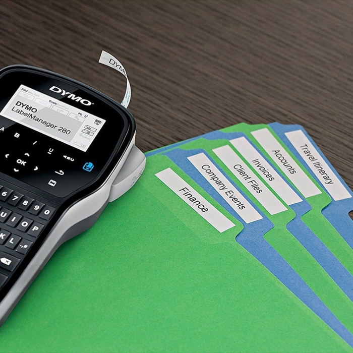 DYMO LabelManager 280 Label Maker,QWERTY and 1 professional label box, 12 mmx7m, black/white, S0968920, 45013-big