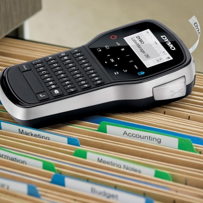 Aparat de etichetat (imprimanta etichete) DYMO LabelManager 280P, QWERTY, kit cu servieta, conectare la PC si 1 banda industriala poliester D1, 12mm x 5.5m, negru/alb, 2091152, 16959-big