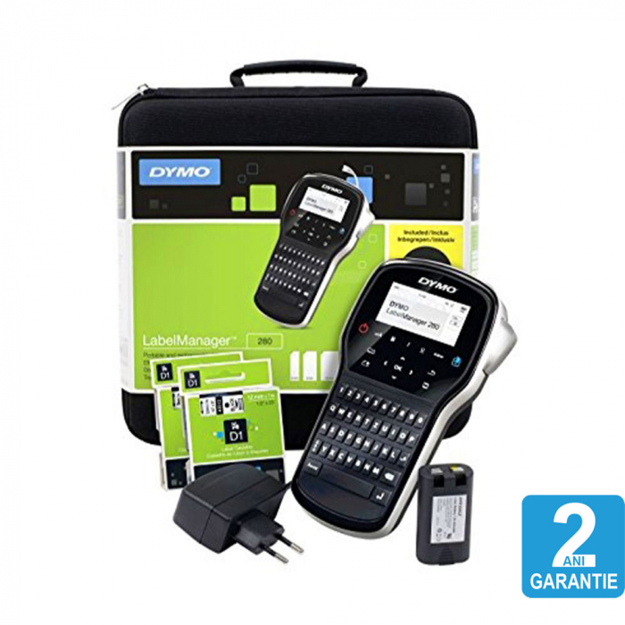 Aparat de etichetat (imprimanta etichete) DYMO LabelManager 280P, QWERTY, kit cu servieta, conectare la PC, 2091152-big