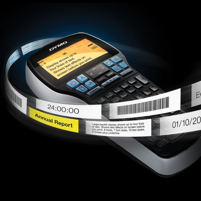 Aparat de etichetat profesional DYMO LabelManager 420P si o caseta etichete profesionale, 9mmx7m, negru/alb, DY915440 S0915440-big