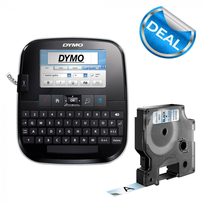 DYMO LabelManager 500TS QWERTY Touch Screen Labeling Machine and 1 Professional Label Tape, 12 mmx7m, black/clear 45010, 946420-big