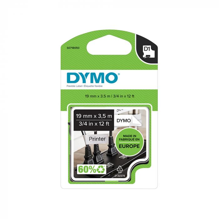 Etichete autocolante, DYMO LabelManager D1, nailon flexibil, 19mm x 3.5m, negru/alb, 16958 S0718050-big