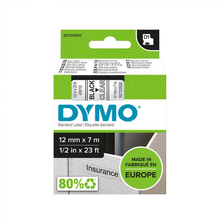 Etichete autocolante, DYMO LabelManager D1, 12mm x 7m, negru/transparent, 45010 S0720500-big