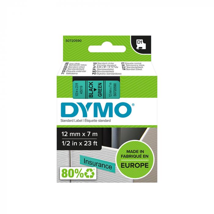 Etichete autocolante, DYMO LabelManager D1, 12mm x 7m, negru/verde, 45019, S0720590-big