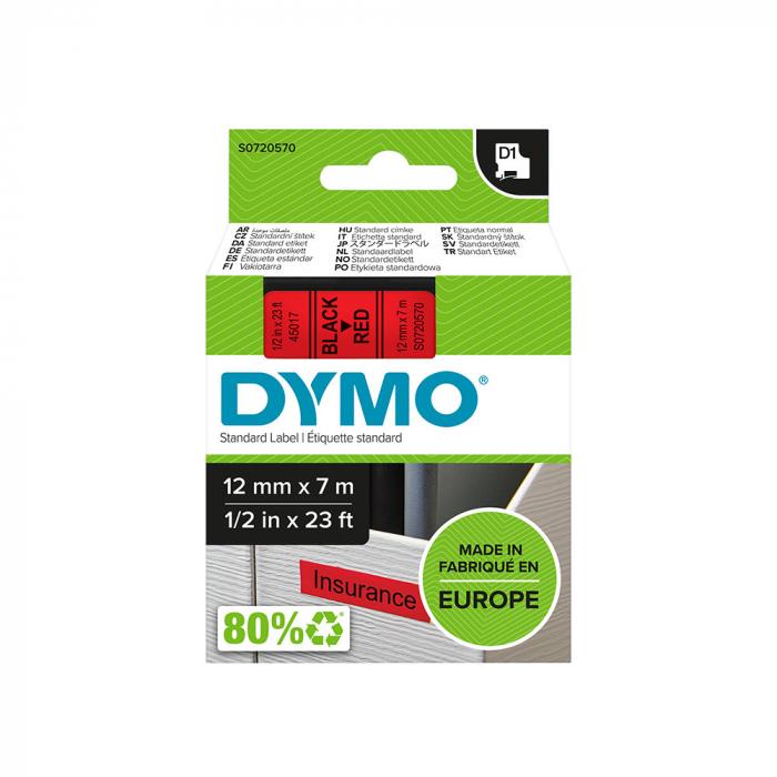 Etichete autocolante, DYMO LabelManager D1, 12mm x 7m, negru/rosu, 45017, S0720570-big