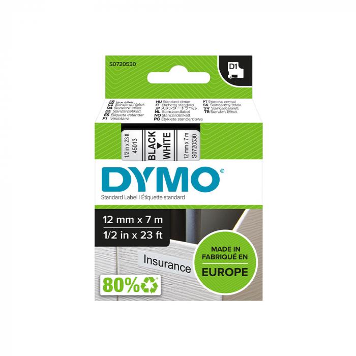 Etichete autocolante, DYMO LabelManager D1, 12mm x 7m, negru/alb, 45013 S0720530-big