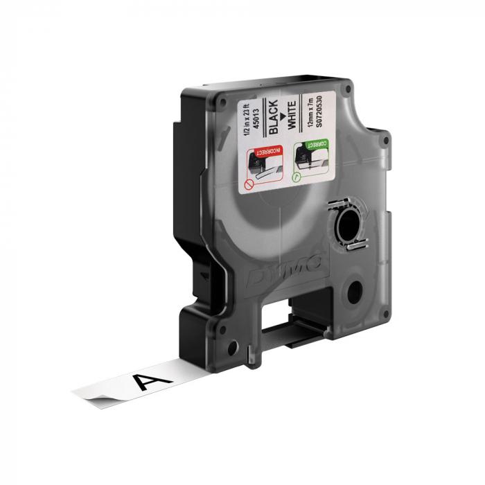 Etichete autocolante, DYMO LabelManager D1, 12mm x 7m, negru/alb, 5 buc/set, 45013 S0720530-big