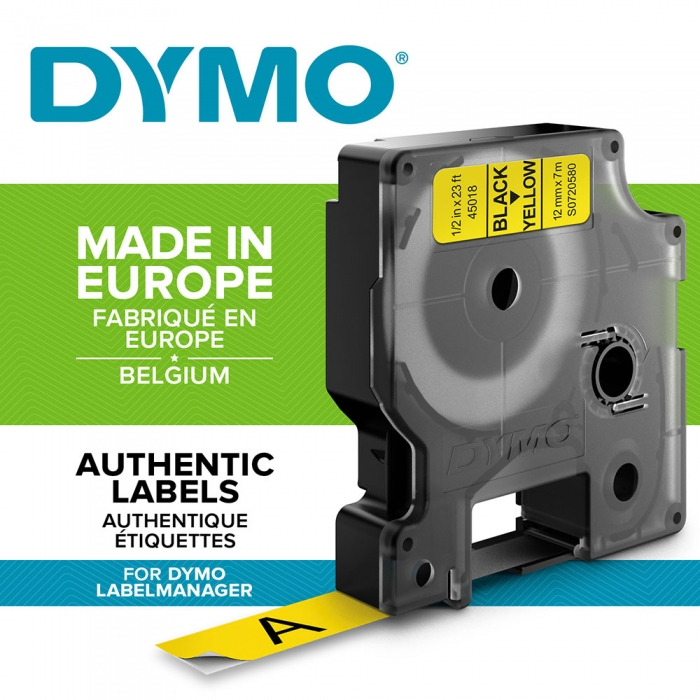 DYMO LabelManager D1 labels, 12mm x 7m, black on yellow, 45018, S0720580-big