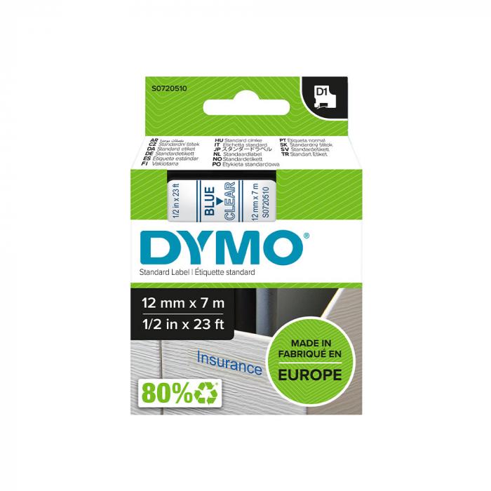 Etichete autocolante, DYMO LabelManager D1, 12mm x 7m, albastru/transparent, 45011 S0720510-big