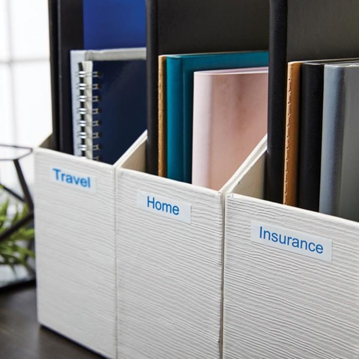 Etichete autocolante, DYMO LabelManager D1, 12mm x 7m, albastru/alb, 45014 S0720540-big
