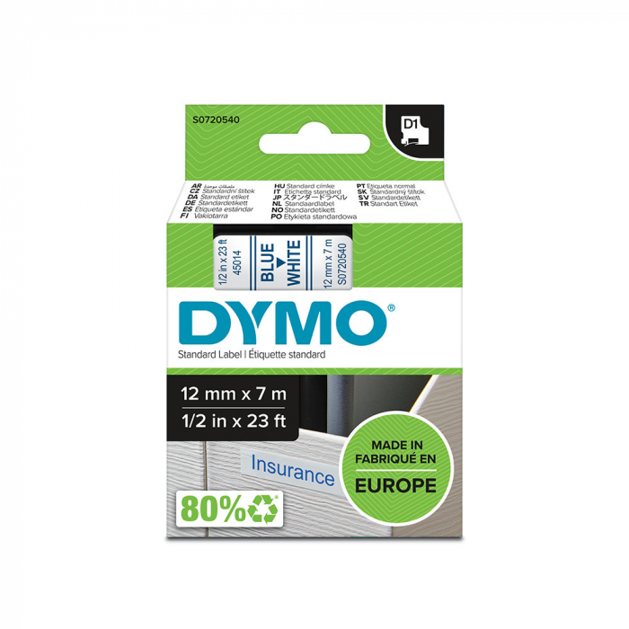 DYMO LabelManager D1 labels, 12mm x 7m, blue on white, 45014 S0720540-big