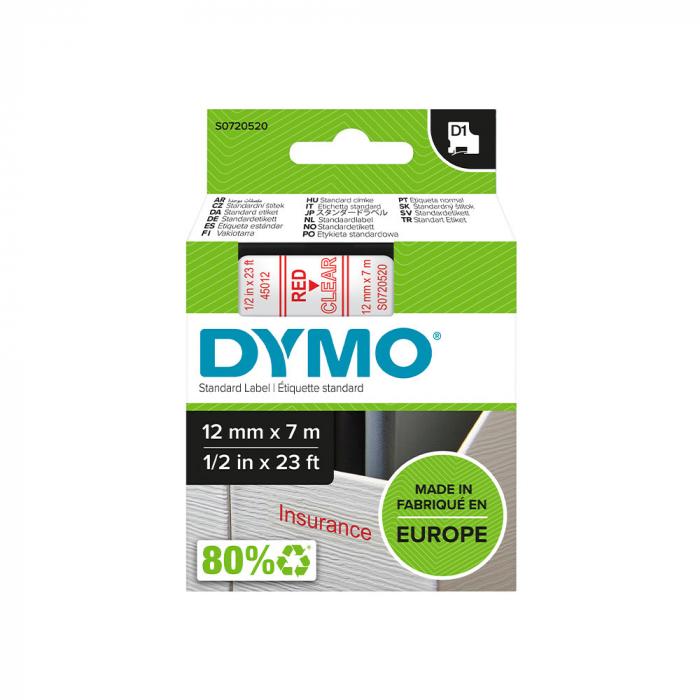 Etichete autocolante, DYMO LabelManager D1, 12mm x 7m, rosu/transparent, 45012 S0720520-big