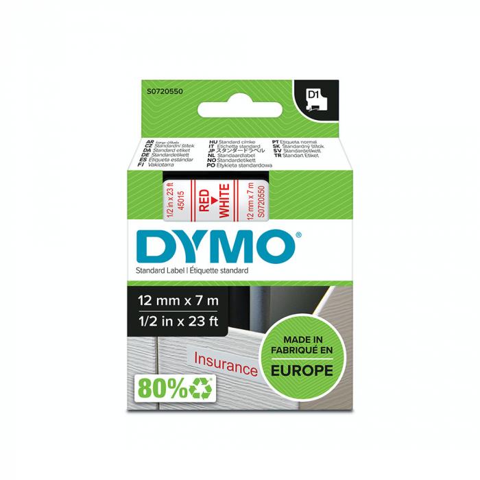 Etichete autocolante, DYMO LabelManager D1, 12mm x 7m, rosu/alb, 45015 S0720550-big