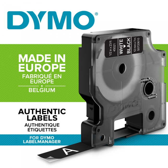 DYMO LabelManager D1 labels, 12mm x 7m, white on black, 45021 S0720610-big