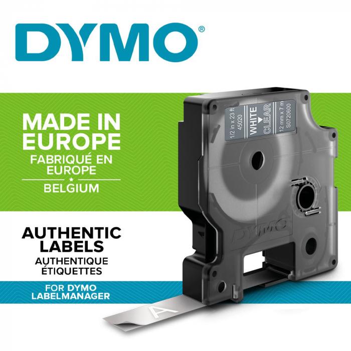 Etichete autocolante, DYMO LabelManager D1, 12mm x 7m, alb/transparent, 45020 S0720600-big