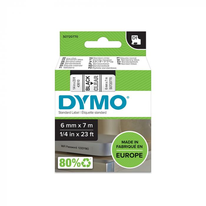 Etichete autocolante, DYMO LabelManager D1, 6mm x 7m, negru/transparent, 43610, S0720770-big