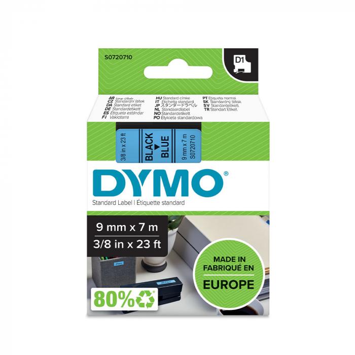 Etichete autocolante, DYMO LabelManager D1, 9mm x 7m, negru/albastru, 40916, S0720710-big