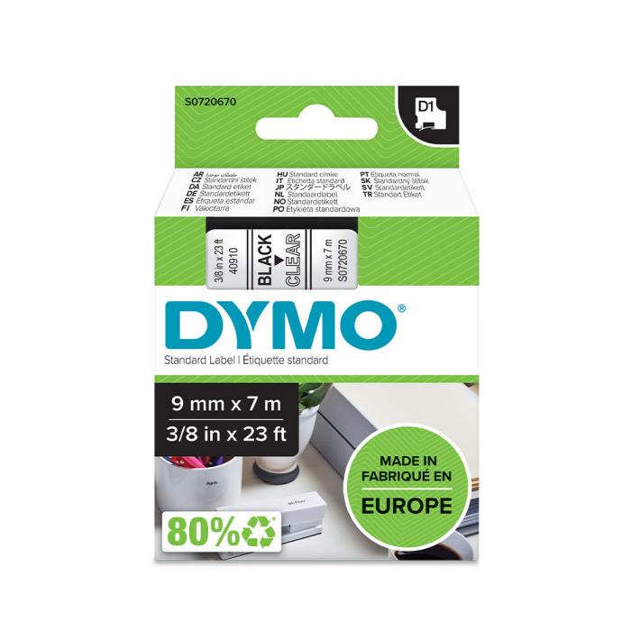 Etichete autocolante, DYMO LabelManager D1, 9mm x 7m, negru/transparent, 40910, S0720670-big