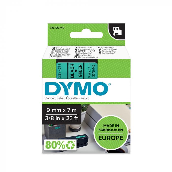 Etichete autocolante, DYMO LabelManager D1, 9mm x 7m, negru/verde, 40919, S0720740-big