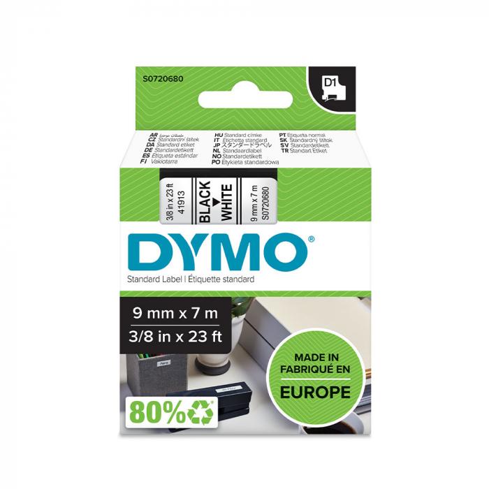 Etichete autocolante, DYMO LabelManager D1, 9mm x 7m, negru/alb, 40913, S0720680-big