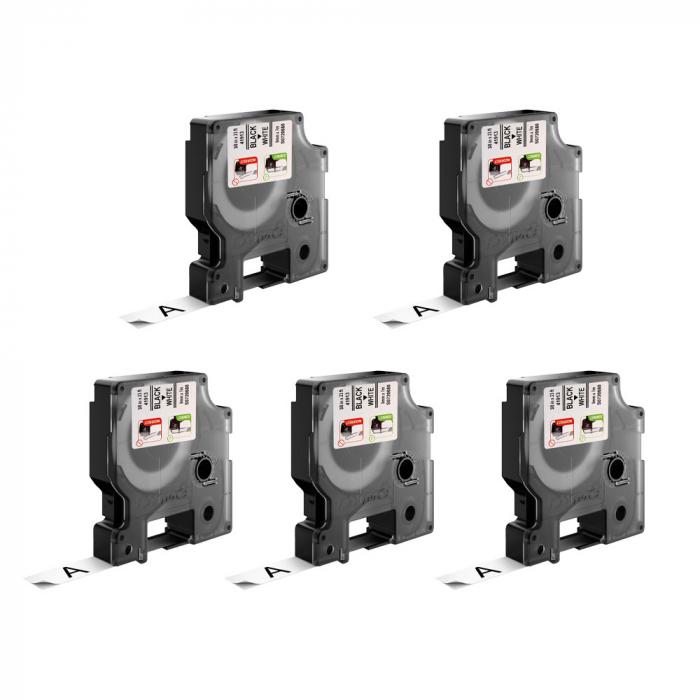 Etichete autocolante, DYMO LabelManager D1, 9mm x 7m, negru/alb, 5 buc/set, 40913, 2093096 S0720680-big