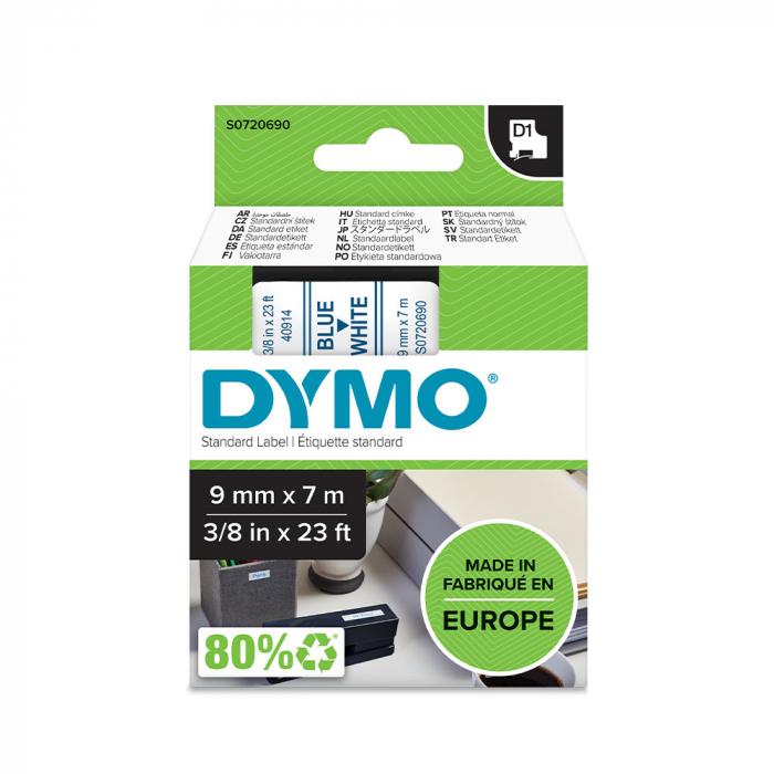 Etichete autocolante, DYMO LabelManager D1, 9mm x 7m, albastru/alb, 40914, S0720690-big