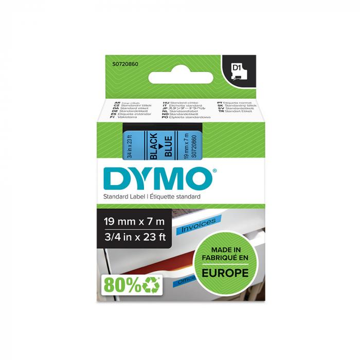 Etichete autocolante plastifiate, DYMO LabelManager D1, 19mm x 7m, negru/albastru, 45806 S0720860-big
