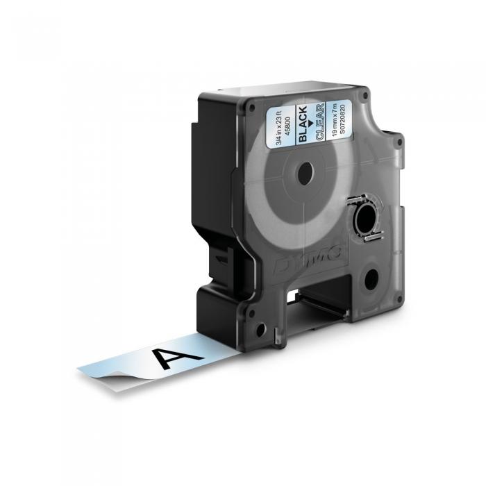 Etichete autocolante plastifiate, DYMO LabelManager D1, 19mm x 7m, negru/transparent, 45800 S0720820-big