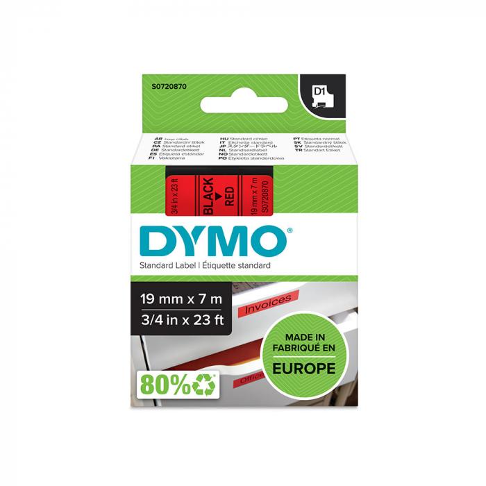 Etichete autocolante plastifiate, DYMO LabelManager D1, 19mm x 7m, negru/rosu, 45807 S0720870-big