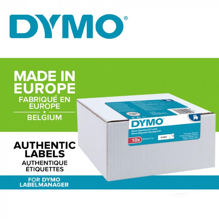 Etichete autocolante plastifiate, DYMO LabelManager D1, 19mm x 7m, negru/alb, 10 buc/set, DY45803 DY2093098-big