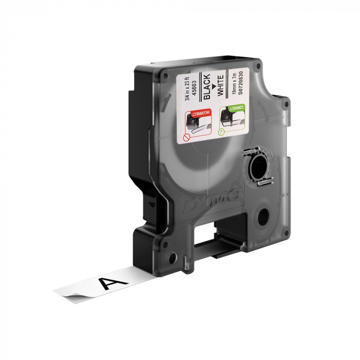 Etichete autocolante plastifiate, DYMO LabelManager D1, 19mm x 7m, negru/alb, 5 buc/set, 45803 S0720830-big