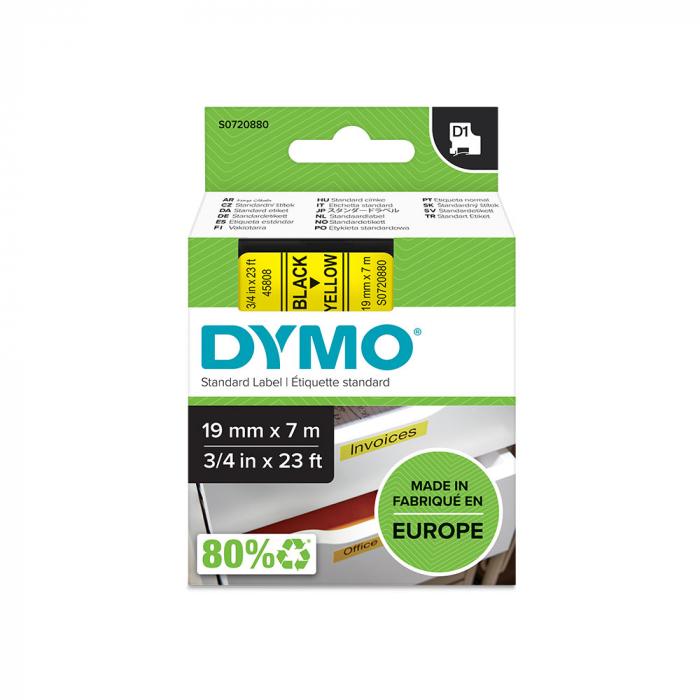 Etichete autocolante plastifiate, DYMO LabelManager D1, 19mm x 7m, negru/galben, 45808 S0720880-big