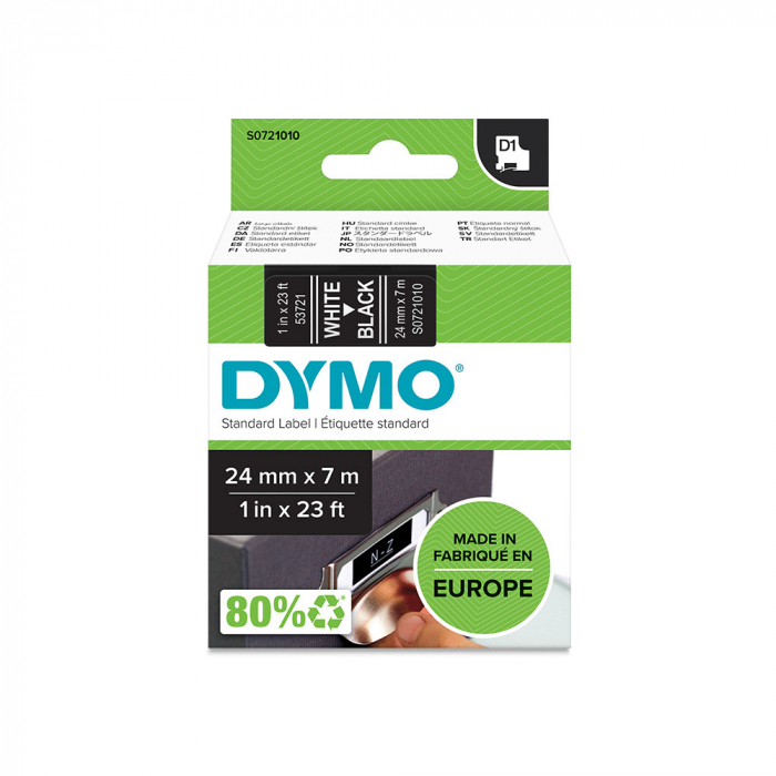 Etichete autocolante plastifiate, DYMO LabelManager D1, 24mm x 7m, alb/negru, 53721 S0721010-big