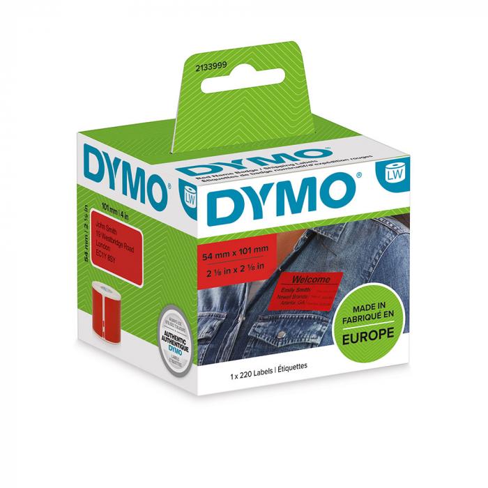 Etichete termice, DYMO LabelWriter, 54mmx101mm, hartie rosie, mesaje avertizare, adrese voiaj, permanente, 1 rola/cutie, 220 etichete/rola, 2133399, 99014-big
