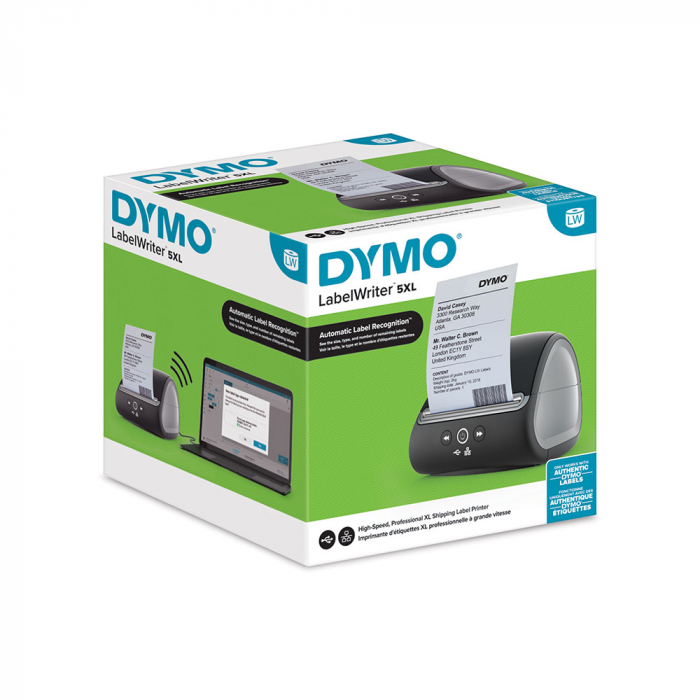 Imprimanta termica etichete DYMO LabelWriter 5XL, senzor recunoastere etichete, aparat de etichetat, priza UK 2112725-big