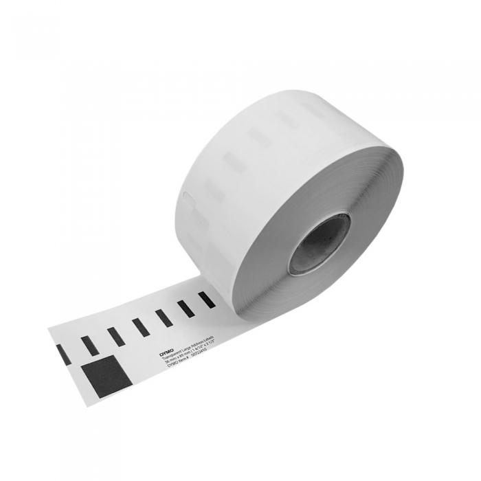 Etichete termice, DYMO LabelWriter, adrese mari, permanente, 89mmx36mm, plastic transparent, 1 rola/cutie, 260 etichete/rola, S0722410-big