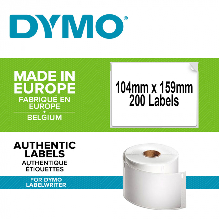 DYMO LabelWriter Durable extra-large shipping labels, 104mmx159mm, polypropylene white, 1 roll/box, 200 labels/roll, 1933086-big