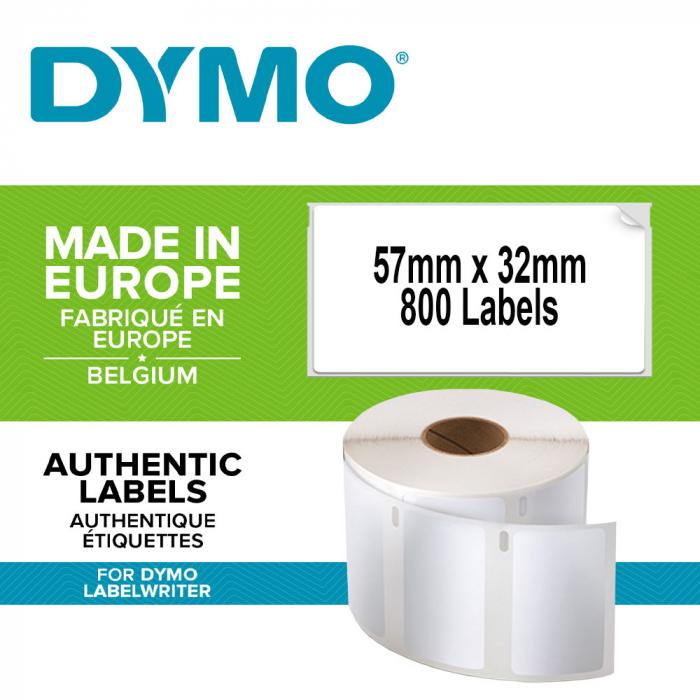 Etichete termice industriale, DYMO LabelWriter Durable, multifunctionale medii, 57mmx32mm, polipropilena alba, 1 rola/cutie, 800 etichete/rola, 1933084.-big