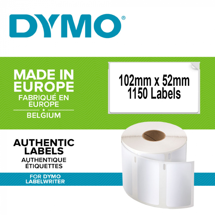 Etichete termice, DYMO LabelWriter, mare capacitate, transport/logisitica, doar pentru LW 4XL, permanente, 102mmx59mm, hartie alba, 2 role/cutie, 575 etichete/rola, 947420 S0947420-big