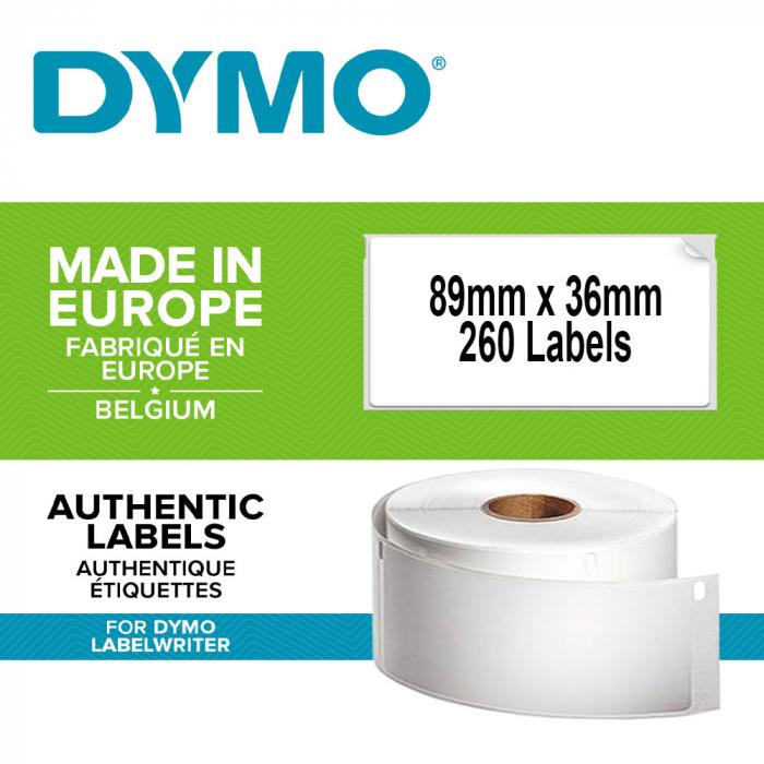 Etichete termice, DYMO LabelWriter, adrese mari, permanente, 89mmx36mm, hartie alba, 12 role/cutie, 260 etichete/rola, 2093093 99012 S0722400-big