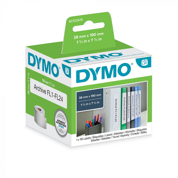 DYMO LabelWriter, Lever Arch Labels 50mm, permanent, 190mmx38mm, paper white, 1 roll/box, 110 labels/roll, 99018 S0722470-big