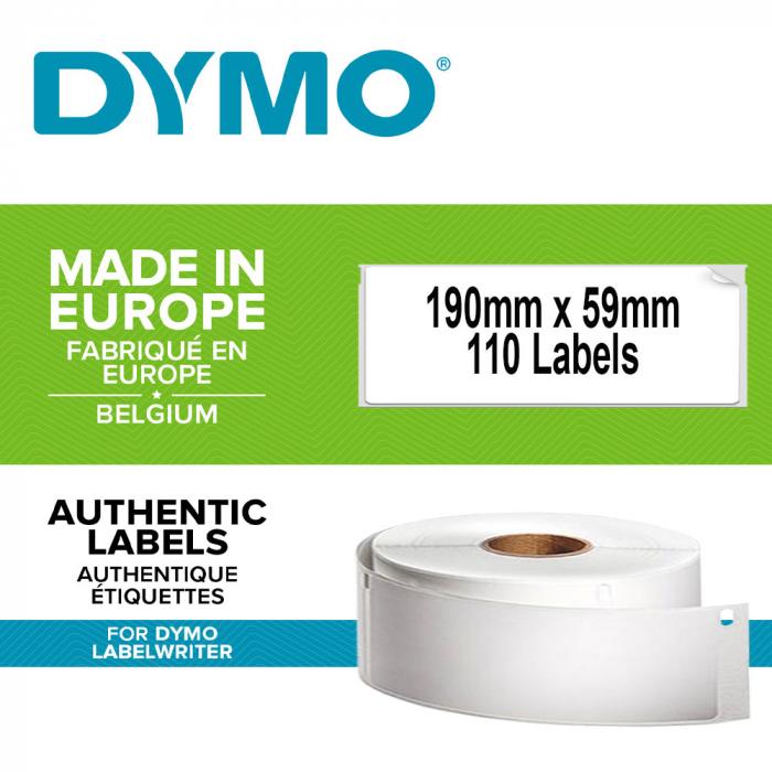 Etichete termice, DYMO LabelWriter, biblioraft 75mm, permanente, 190mmx59mm, hartie alba, 1 rola/cutie, 110 etichete/rola, 99019 S0722480-big