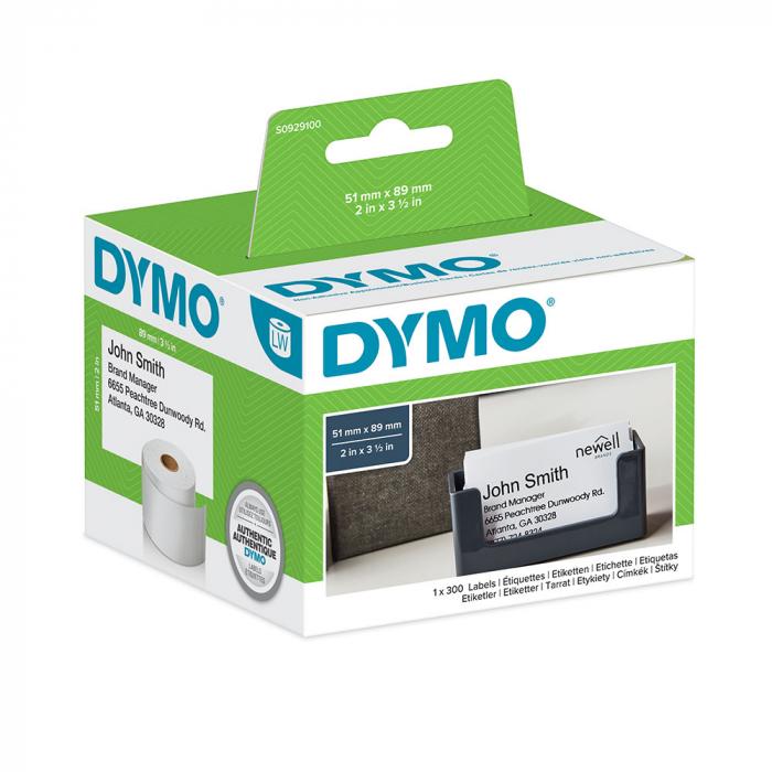 Etichete termice, DYMO LabelWriter, ecusoane/carduri medii, neadezive, 51mmx89mm, hartie alba, 1 rola/cutie, 300 etichete/rola, S0929100-big