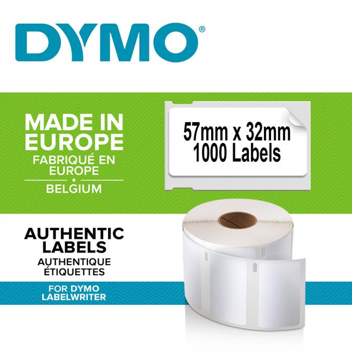 Etichete termice, DYMO LabelWriter, repozitionabile, 57mmx32mm, hartie alba, 6 role, 2093094 11354 S0722540-big