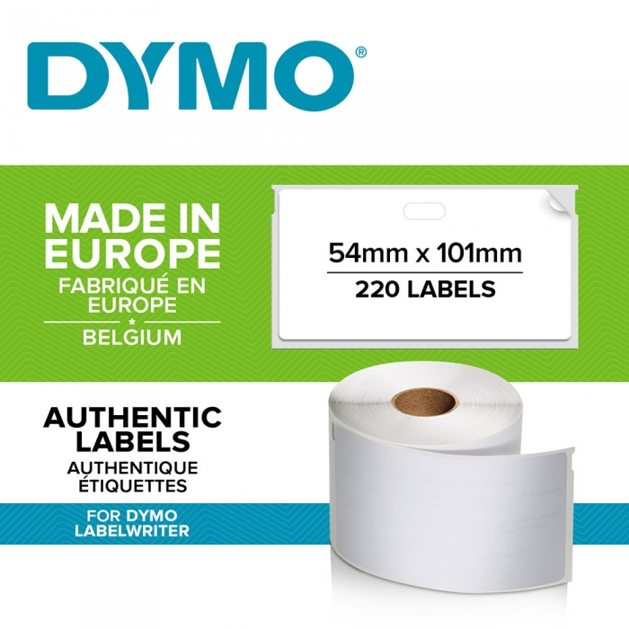 Etichete termice, DYMO LabelWriter, adrese voiaj, permanente, 54mmx101mm, hartie alba, 1 rola/cutie, 220 etichete/rola, 99014 S0722430 2015540-big