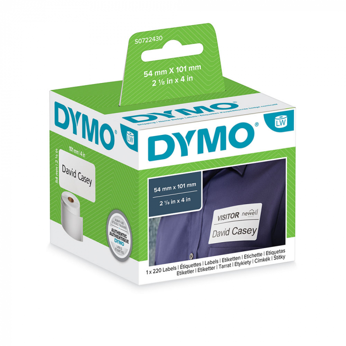 DYMO LabelWriter, Shipping/Name Badge labels, permanent, 54mmx101mm, paper white, 1 roll/box, 220 labels/roll, 99014 S0722430 2015540-big
