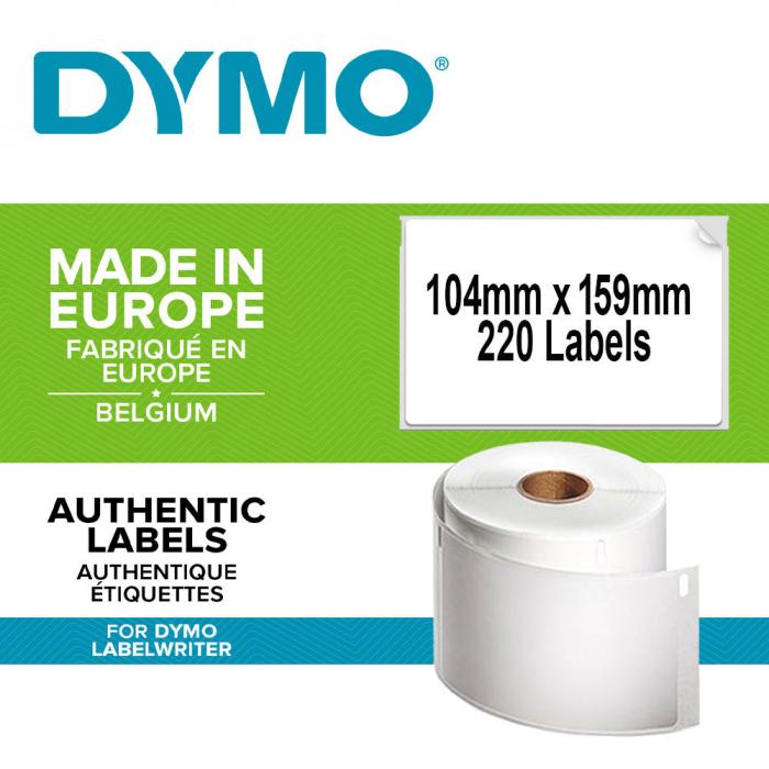 Etichete termice, DYMO LabelWriter, transport/logisitica, doar pentru LW 4XL, permanente, 104mmx159mm, hartie alba, 1 rola/cutie, 220 etichete/rola, 904980 S0904980 S0947420-big